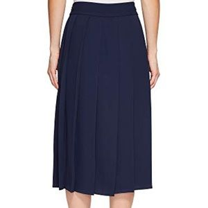 Lacoste pleated crepe midi skirt in Navy